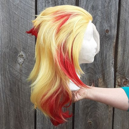 Kyojuro cosplay wig side view
