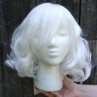fluffy white cosplay wig