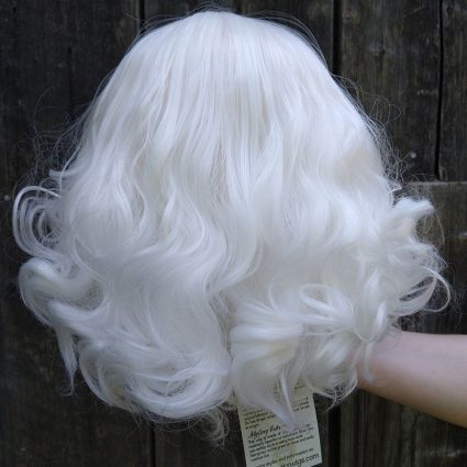 fluffy white cosplay wig back view