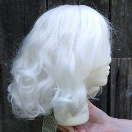 fluffy white cosplay wig side view