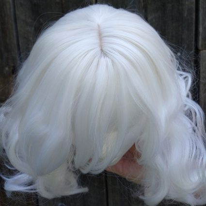 fluffy white cosplay wig top view