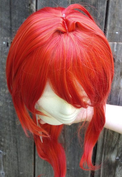 Diluc cosplay wig top view